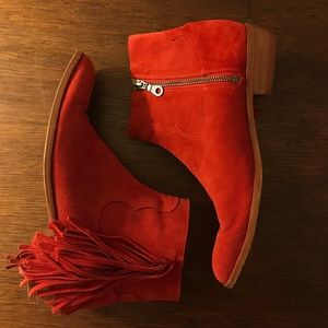 Modern Vice Red Suede Booties with Fray